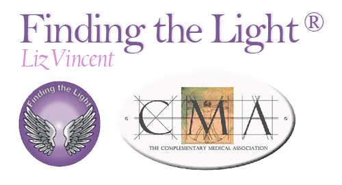 Finding the Light Liz Vincent Finding the Light logo and  Complementary Medical Association logo